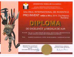 Diplome obținute la Proinvent 2014, 19-21 martie 2014